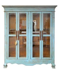 ANTIQUE BLUE GLASS DOORS ARMOIRE