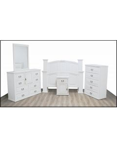 WEATHERED WHITE MANSION BED W/ ECONO CASE GOODS