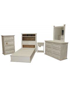 WW JUMBO TWIN PLATFORM BED W/ BUDGET CASE GOODS