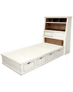 W WHITE JUMBO TWIN PLATFORM STORAGE BED