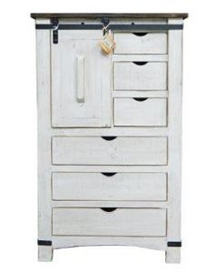 WHITE/COFFEE BARN DOOR CHEST
