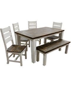 WEATHERED WHITE ECONO 5' DINING SET