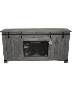 CHARCOAL BARN DOOR TV W/ FIREPLACE