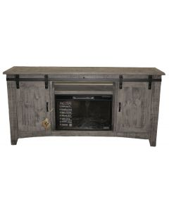CHARCOAL GRAY BARN DOOR TV/FIREPLACE