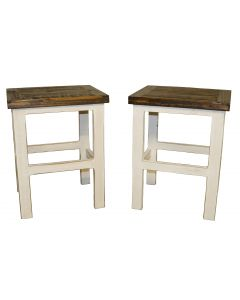WEATHERED WHITE BARSTOOL