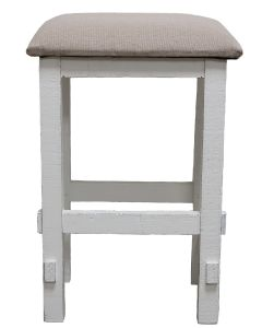 "WHITE 24"" PADDED STOOL"