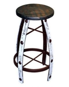 IRON & WOOD WHITE SCRAPED BARSTOOL