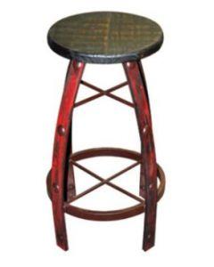 IRON & WOOD RED SCRAPED BARSTOOL