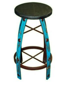 IRON & WOOD TURQUOISE SCRAPED BARSTOOL
