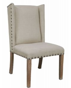 BANKS CHAIR - LINEN WITH CABERNET LEGS