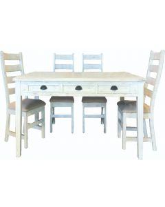 6' JOANNA TABLE w/ JOANNA PADDED CHAIRS - WHITE